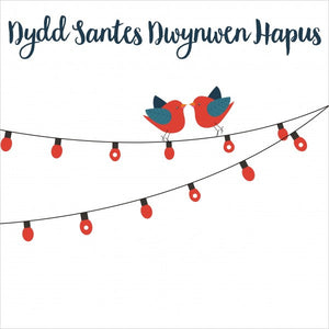 Love card 'Dydd Santes Dwynwen Hapus' love birds pompoms