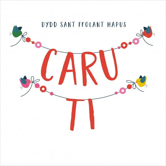 Love card 'Dydd Sant Ffolant Hapus - Caru Ti' love birds pompoms