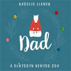 "Christmas card ""Nadolig Llawen Dad"" dad, polar bear"