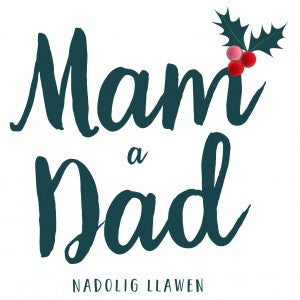 Christmas card 'Nadolig Llawen Mam a Dad' - Mum and Dad - Pompoms