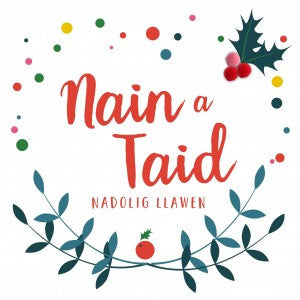 Christmas card 'Nain a Taid Nadolig Llawen' - Gran and Grandad - Pompoms
