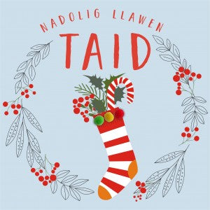 Christmas card 'Nadolig Llawen Taid'  Grandad - Stocking - Pompoms