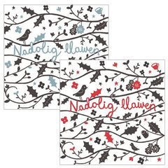 Christmas mini cards 'Nadolig Llawen', pack of 6