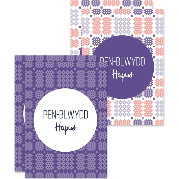 Birthday mini cards 'Pen-blwydd Hapus' pack of 4 - Welsh Tapestry