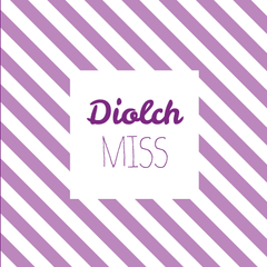 Thank you card 'Diolch Miss' female teacher