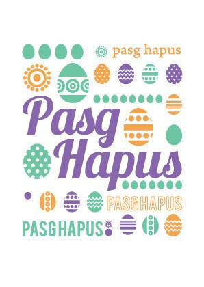 Easter card 'Pasg Hapus' eggs