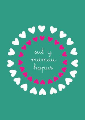 Mother's day card 'Sul y Mamau Hapus' hearts