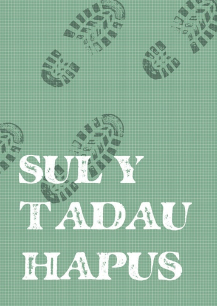 Father's day card 'Sul y Tadau Hapus' footprints