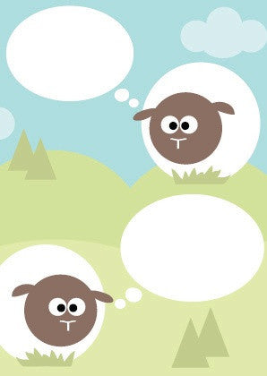 Greeting card - sheep & bubbles
