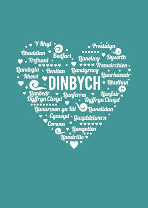 Denbigh card 'Dinbych' heart - blue