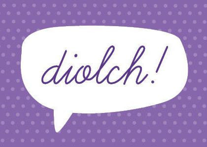 Thank you card 'Diolch!' purple