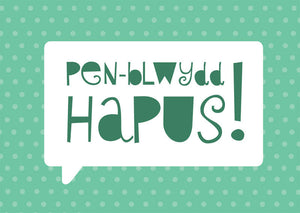 Birthday card 'Pen-blwydd Hapus' green speech bubble