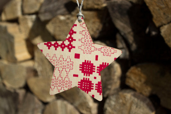 Welsh blanket pattern wooden star decoration