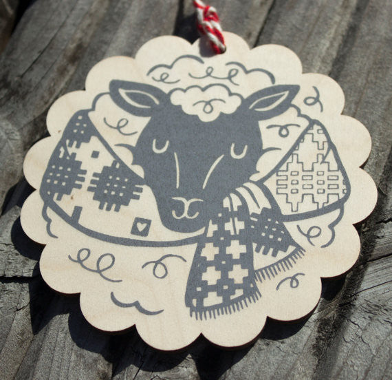 Welsh sheep wooden decoration