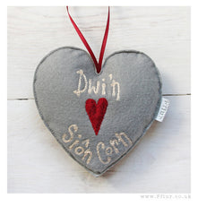 """Dwi'n Caru Siôn Corn"" Heart Christmas Decoration"