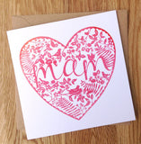 Mothers day card 'Mam' papercut