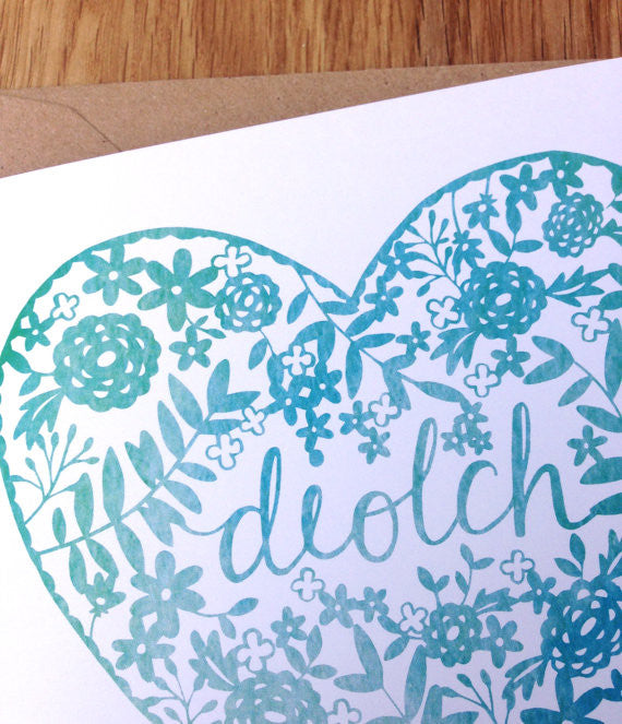 Thank you card 'Diolch' papercut
