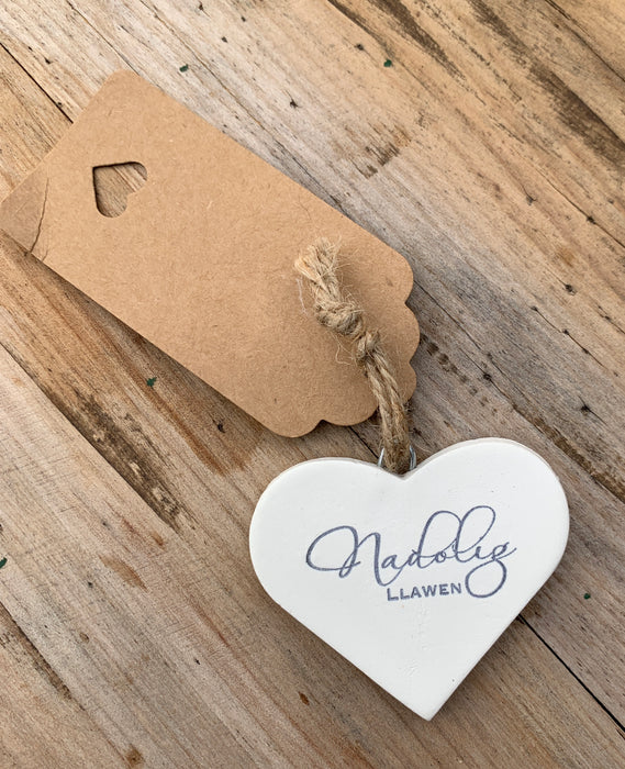 White clay 'Nadolig Llawen' Merry Christmas heart tag / decoration