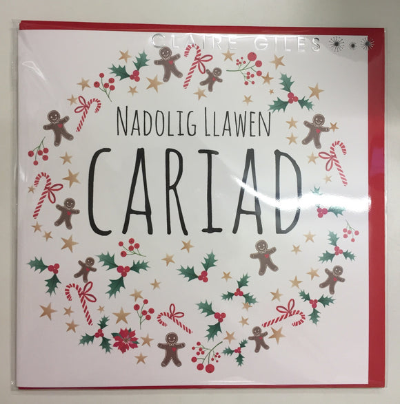 Christmas card 'Nadolig Llawen Cariad' the one I love