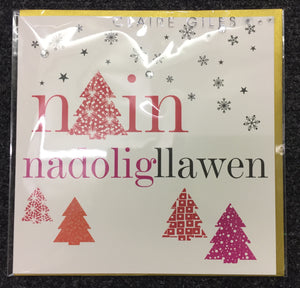 Christmas card 'Nadolig Llawen Nain' grandmother