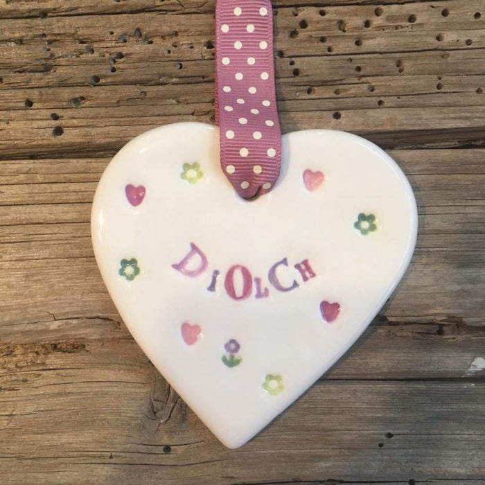 Hand-made Ceramic Heart - Diolch