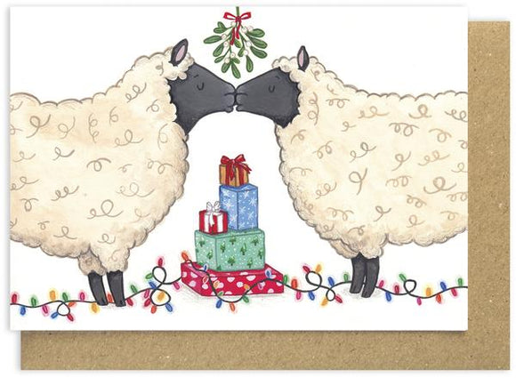 Christmas card - Kissing Sheep