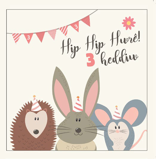 Birthday card 'Hip hip hwre! 3 heddiw' 3 today - pink