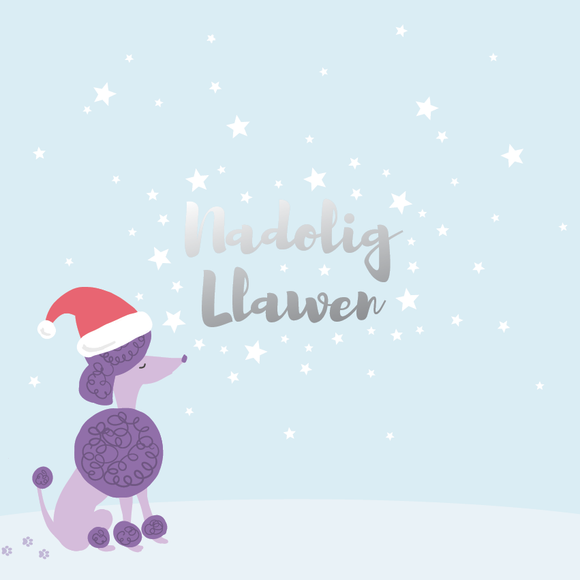 Christmas card 'Nadolig Llawen' Merry Christmas - poodle