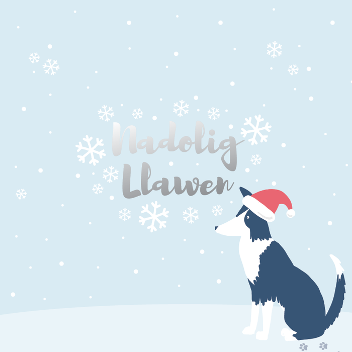 Christmas card 'Nadolig Llawen' Merry Christmas - sheepdog