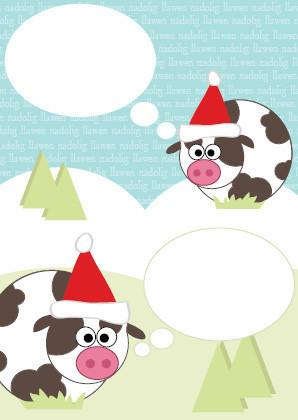 Christmas card - cows & bubbles