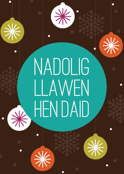Christmas card 'Nadolig Llawen Hen Daid' great-grandfather NW