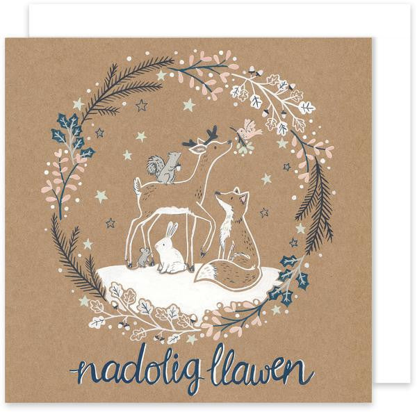 Christmas card 'Nadolig Llawen' - Forest Wreath
