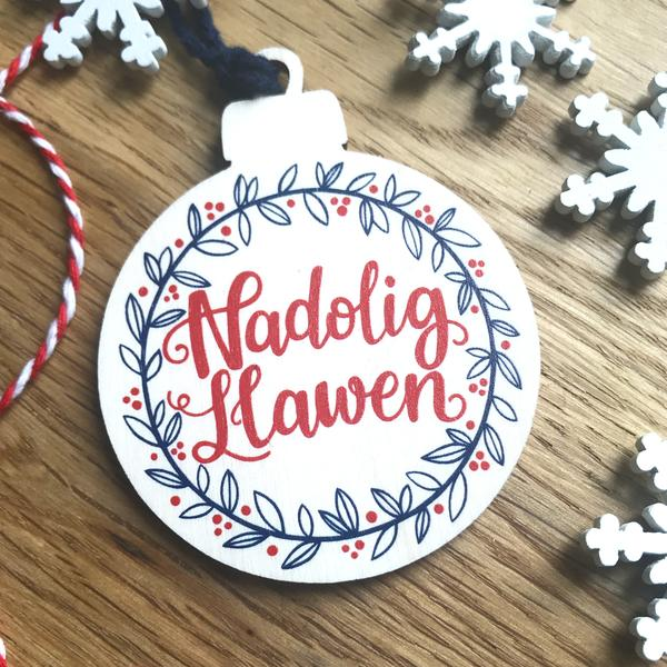 Nadolig Llawen wooden Christmas decoration