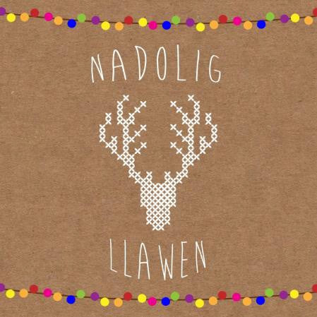 Christmas card 'Nadolig Llawen' cross stitch stag