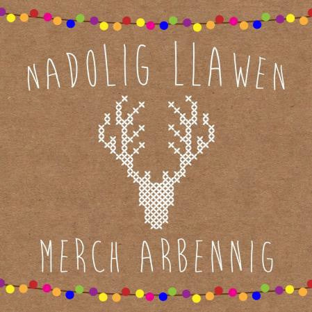 Christmas card 'Nadolig Llawen Merch Arbennig' daughter cross stitch stag