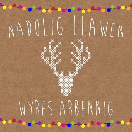 Christmas card 'Nadolig Llawen Wyres Arbennig' grand-daughter cross stitch stag