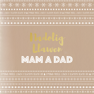 Mum and Dad Christmas card 'Nadolig Llawen Mam a Dad'
