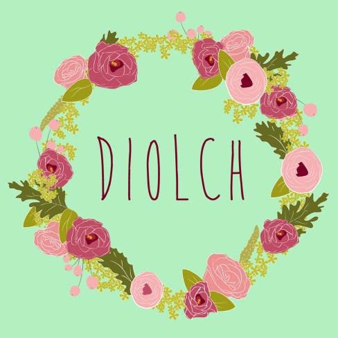 Thank you card 'Diolch' flower wreath