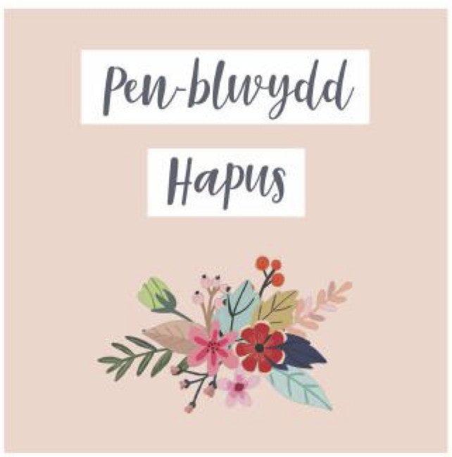 Birthday card 'Pen-blwydd Hapus' flowers pink