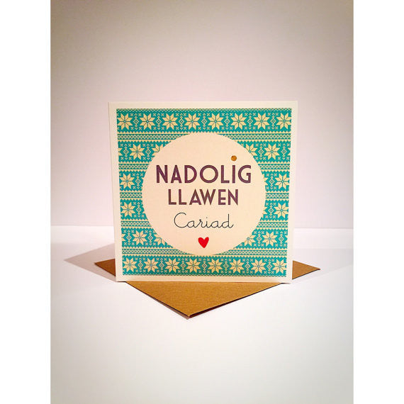 Christmas card 'Nadolig Llawen Cariad' one I love fair isle