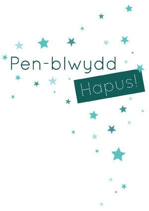 Birthday card 'Pen-blwydd Hapus' green stars
