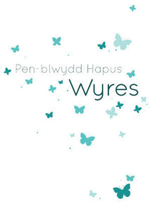 Birthday card 'Pen-blwydd Hapus Wyres' grand daughter butterflies