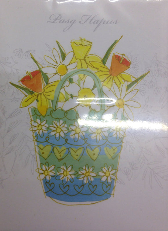 Easter mini cards 'Pasg Hapus', pack of 5 - flowers