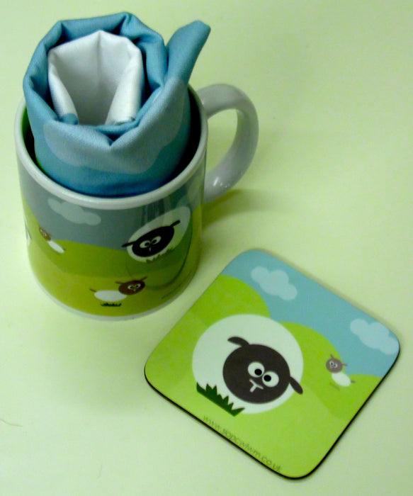 Mug, wooden coaster & tea-towel set
