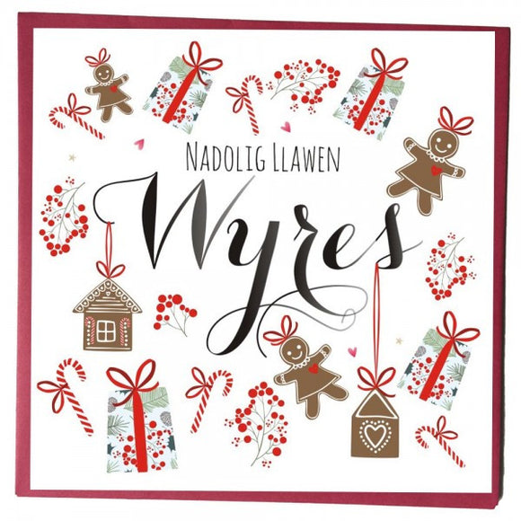 Christmas card 'Nadolig Llawen Wyres' grand-daughter