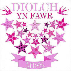 Thank you card 'Diolch yn Fawr Miss' female