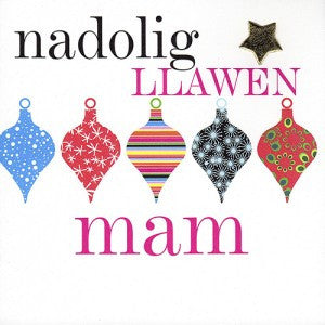 Christmas card 'Nadolig Llawen Mam' mother