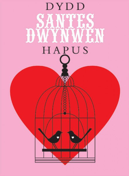 Love card 'Dydd Santes Dwynwen Hapus' love birds