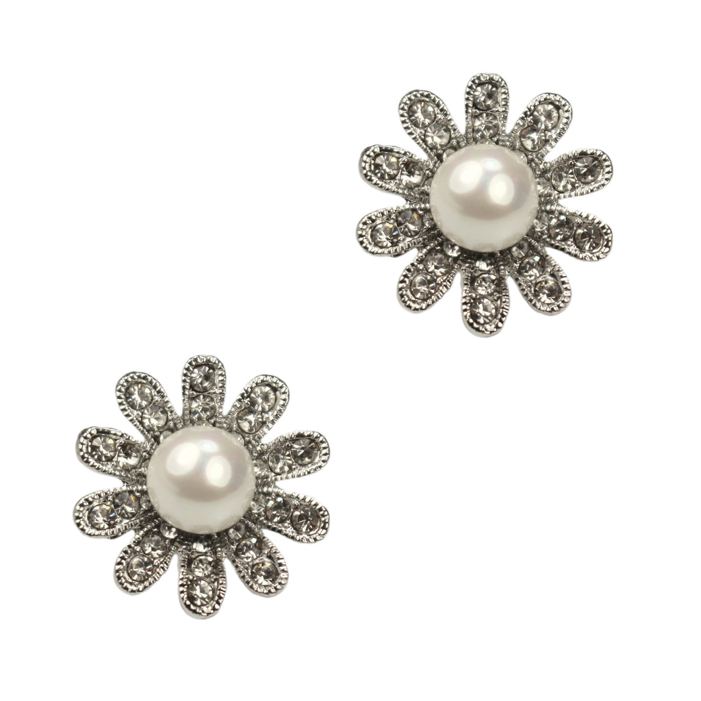 Abby Clip Earrings (Rhodium)