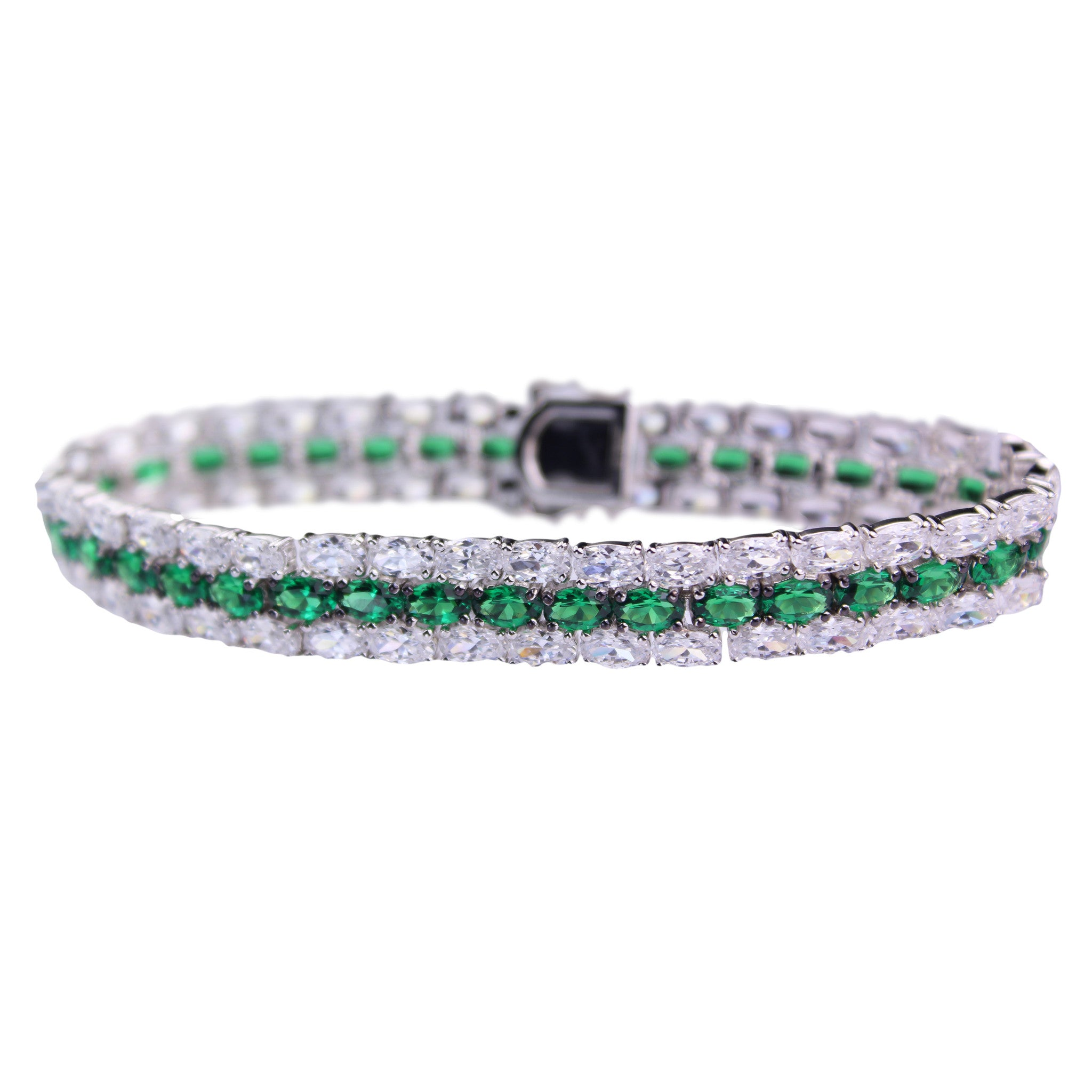 emerald platinum product cut bracelet diamond jewelers stephen wiseley each